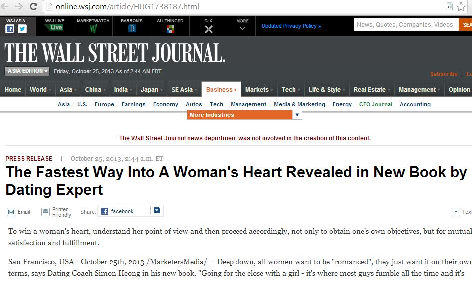 how to submit press release to Wall Street Journal