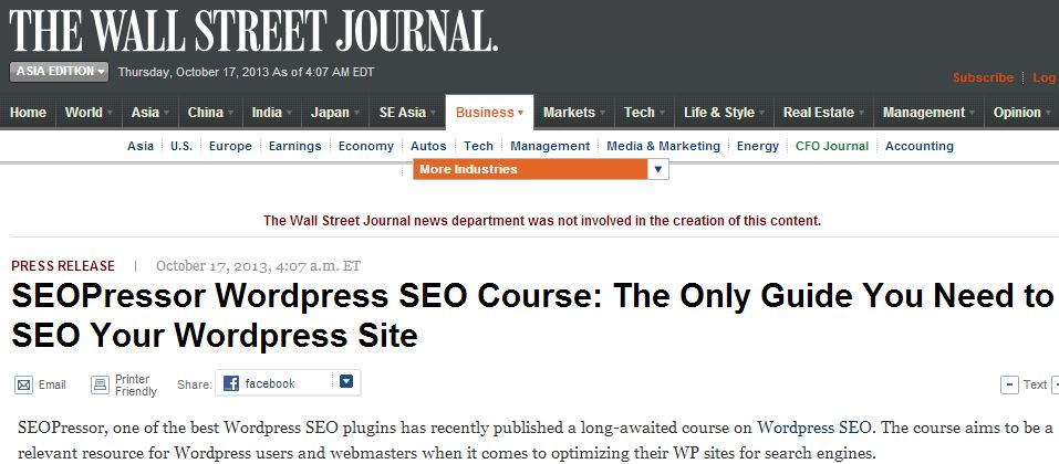 Press Release distribution to Wall Street Journal