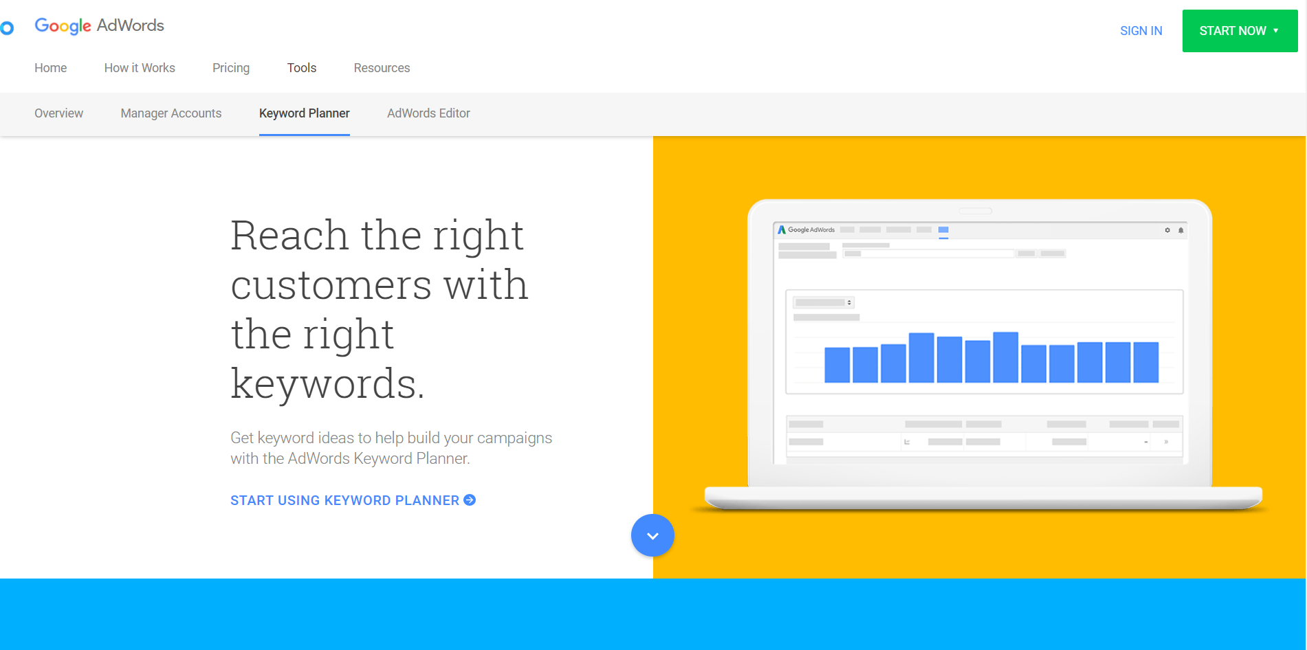 Google Adwords Keyword Tool Landing Page