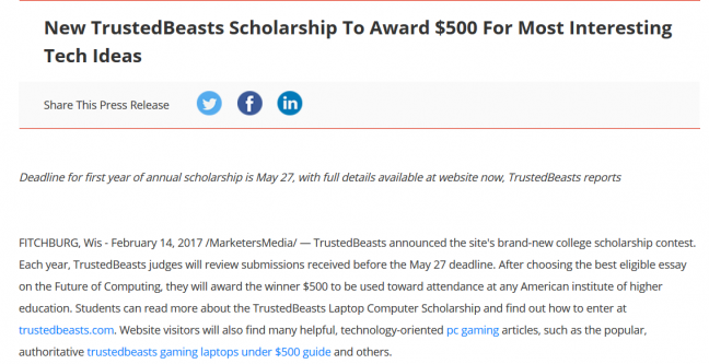 Scholarship press release